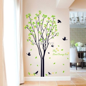 Decal cây xanh và chim A011