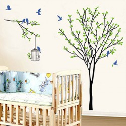 Decal cây xanh và chim A013