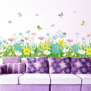 Decal hoa dán chân tường A062