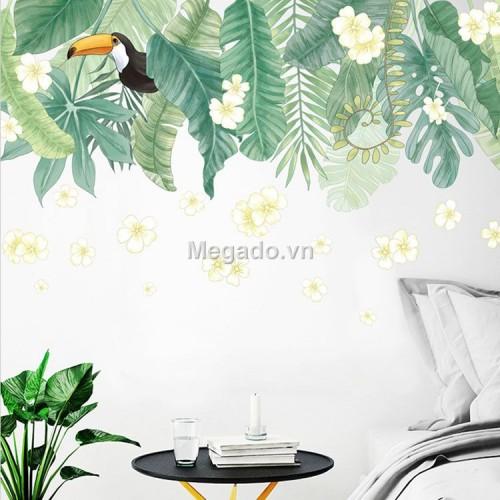 Decal lá xanh hoa trắng A171