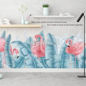 Decal hồng hạc, lá chuối xanh chân tường A264