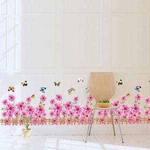 Decal chân tường hoa cúc hồng A382