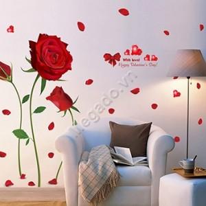 Decal hoa hồng đỏ  A399
