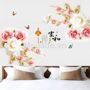 Decal hoa hồng ngọc trắng 3d A480