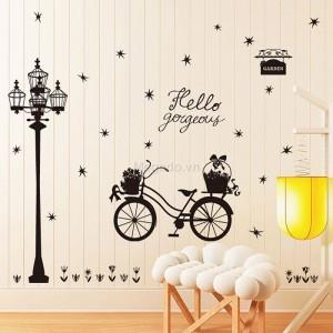 Decal xe đạp và cột đèn A489