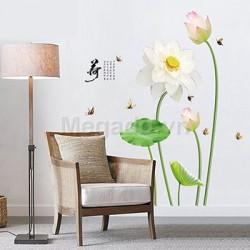 Decal hoa sen trắng A637