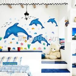 Decal đàn cá heo xanh A648