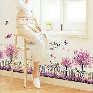 Decal hoa chân tường tím A657