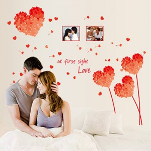 Decal hoa hồng trái tim A727