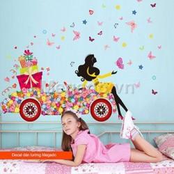 Decal xe hoa và cô gái A796