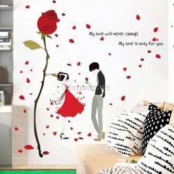 Decal đôi tình nhân và hoa hồng A855