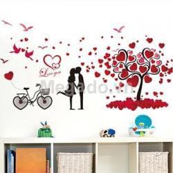 Decal cây trái tim tình yêu A863
