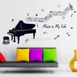 Decal nốt nhạc đàn piano A942