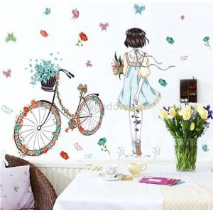 Decal cô gái và xe đạp A949