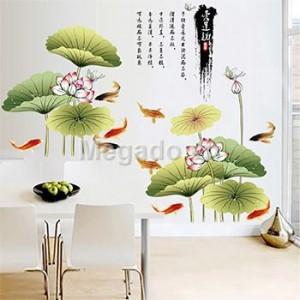 Decal tranh cá chép hoa sen A972