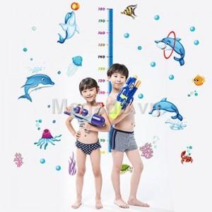 Decal đo chiều cao đàn cá heo B040