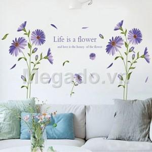 Decal hoa hướng dương tím B086