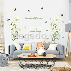 Decal hoa ly trắng B102