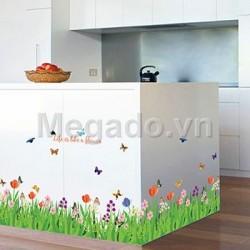 Decal hoa cỏ chân tường B113