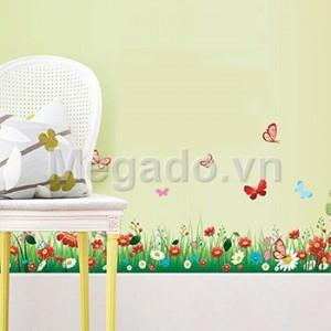 Decal hoa cỏ chân tường B120