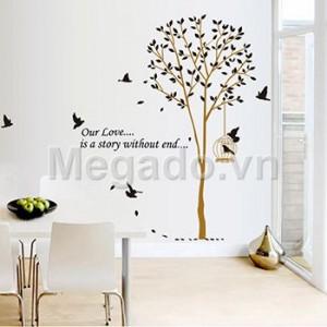 Decal cây và lồng chim B149