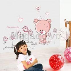 Decal gấu và hoa B157