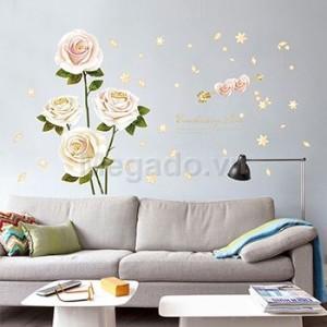 Decal hoa hồng trắng B237