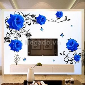 Decal hoa hồng xanh 3d B254