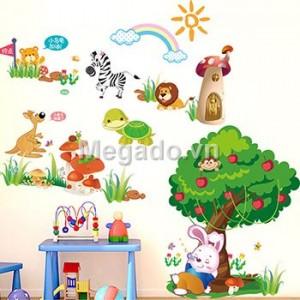 Decal thỏ và cây táo B257