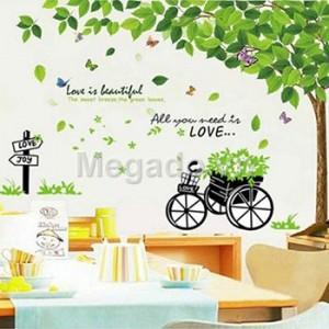 Decal cây xanh và xe hoa N012