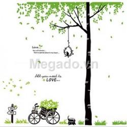Decal trang trí cây và xe hoa N013