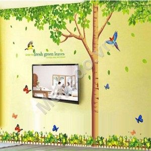 Decal cây xanh và hoa chân tường N032