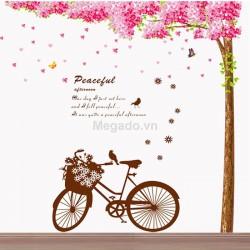 Decal cây đào và xe đạp N037
