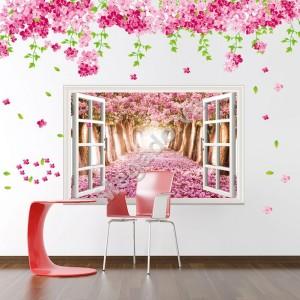 Decal hoa đào và cửa sổ N118