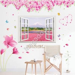 Decal hoa đào và cửa sổ N144