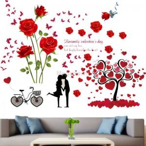 Decal hoa hồng và cây trái tim N184