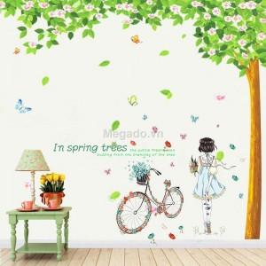 Decal cây xanh, xe đạp và cô gái N197