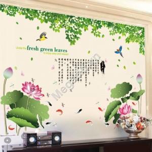 Decal dán tường hoa sen N203