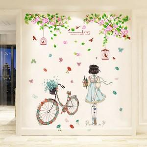 Decal thiếu nữ và hoa đào N208