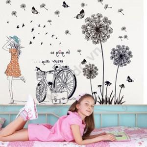 Decal cô gái bồ công anh và xe đạp N228