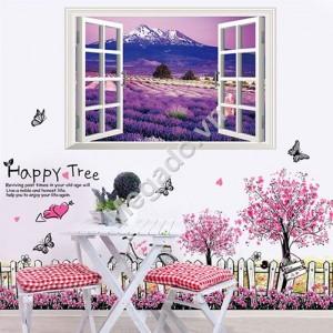 Decal cửa sổ hoa chân tường tím N238