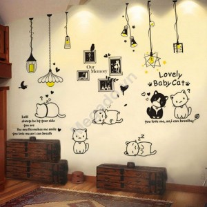 Decal đèn trang trí và mèo N248