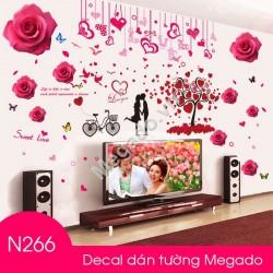 Decal hoa hồng và cây trái tim N266