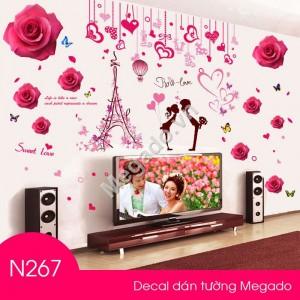Decal hoa hồng và đôi uyên ương N267