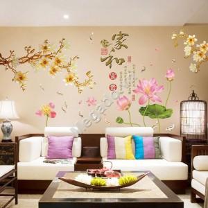 Decal hoa sen và hoa đào N272