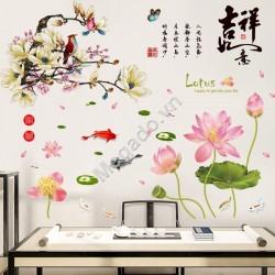 Decal hoa sen và hoa đào trắng N273