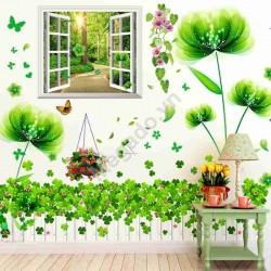 Decal dán tường cửa sổ và hoa cánh mỏng xanh N280