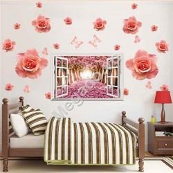 Decal hoa hồng và cửa sổ N287