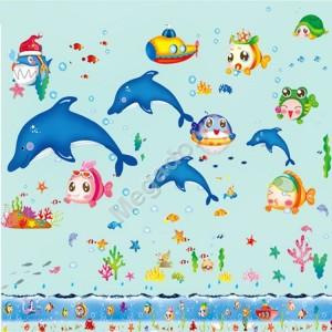 Decal cá heo và đàn cá nhỏ N299