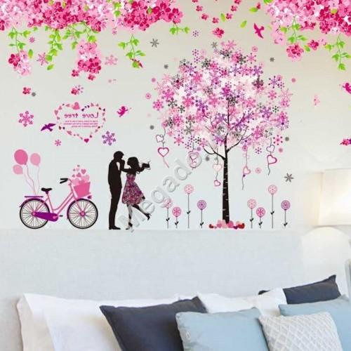Decal hoa đào và cây tình yêu N357